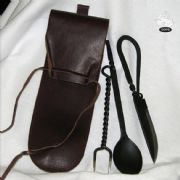 Knife Fork & Spoon Cutlery Set With Leather Case